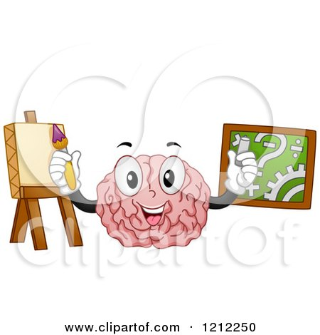 Cartoon of a Brain Mascot Demonstrating the Functions of the Left.