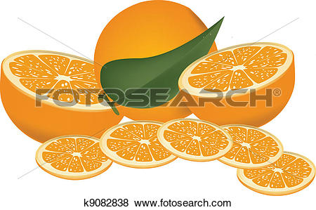 Clip Art of Fruit slices and portions k9082838.