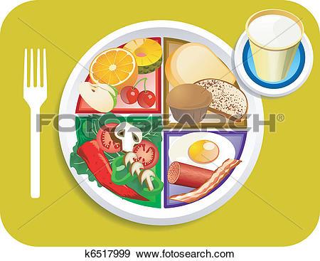 Clip Art of Food My Plate Breakfast Portions k6517999.