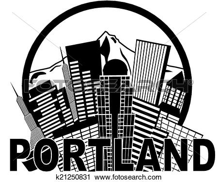 Clipart of Portland Oregon Skyline Text Outline Black and White.