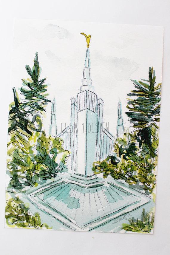 Portland Oregon LDS Temple Watercolor Temple 5x7 by.