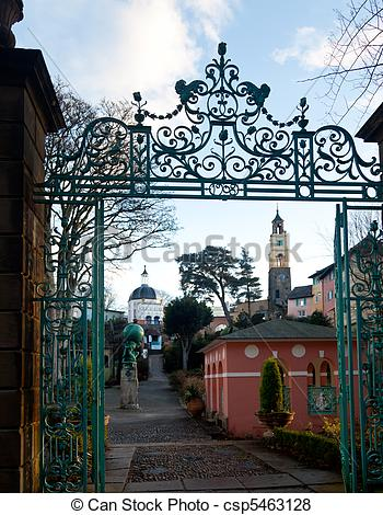 Pictures of Winter scene at Portmeirion in Wales.