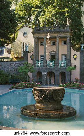 Stock Photo of Fountain and Gloriette Portmeirion Wales UK uni.