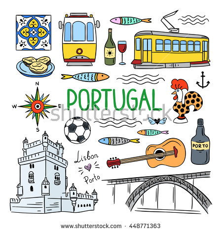 Portugal Elements Symbols Hand Drawn Icons Stock Vector 448771360.