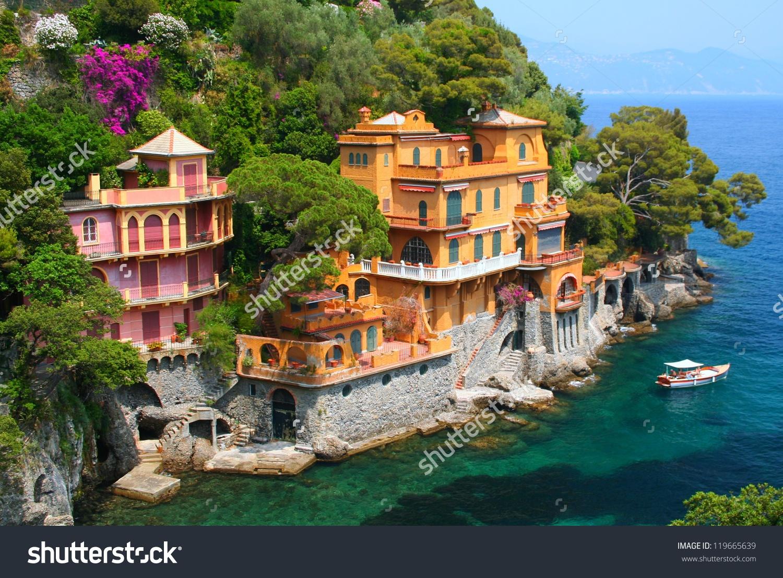 Seaside Villas Near Portofino Italy Stock Photo 119665639.