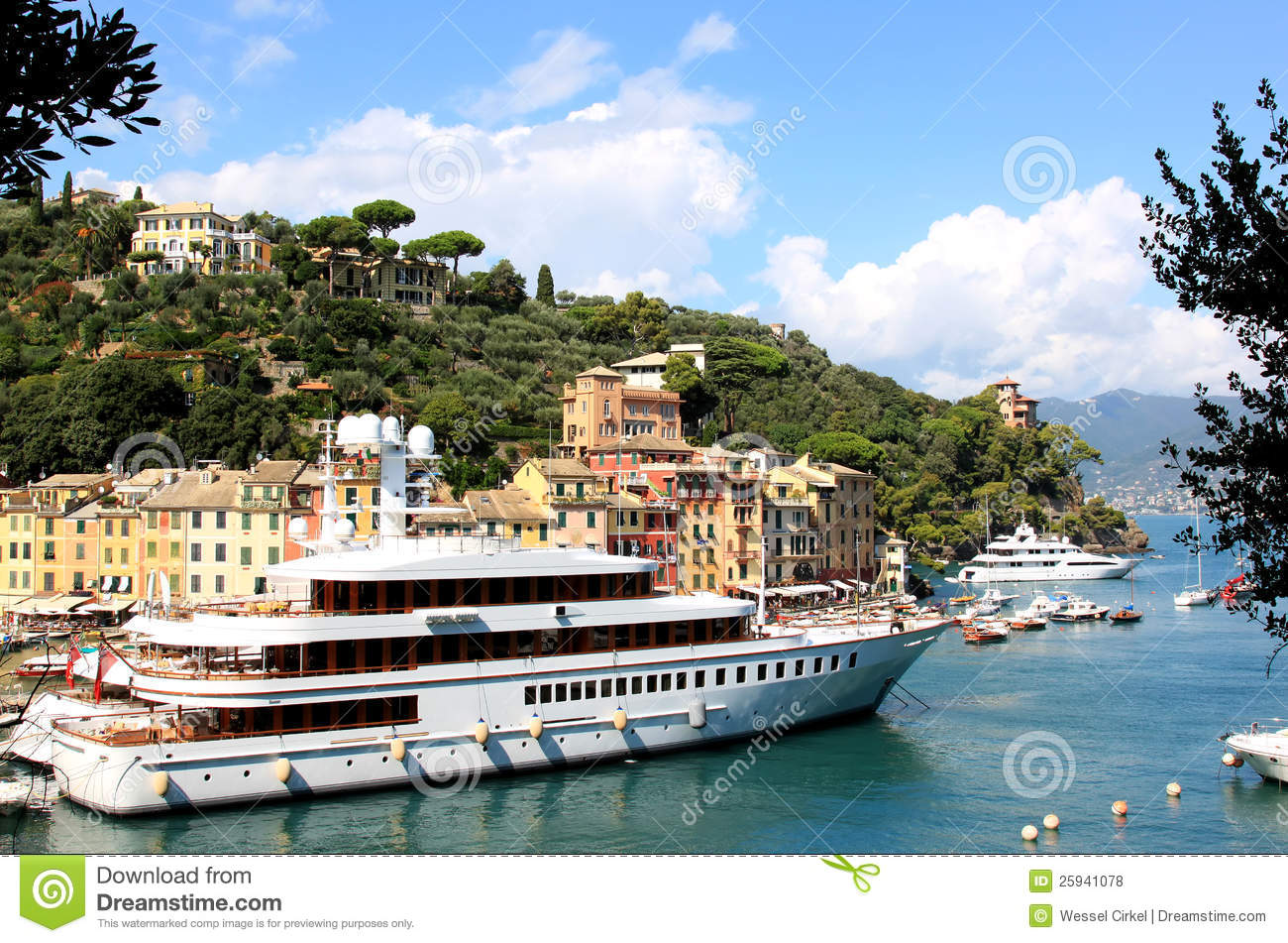 Luxury Yachts In The Harbour Of Portofino, Italy Royalty Free.