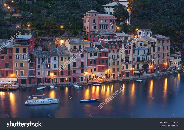 The Beautiful Portofino Fishing Village In Italy At Dusk Stock.