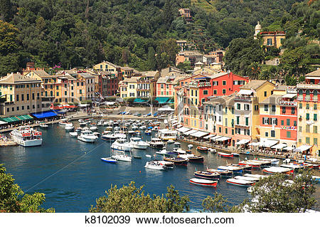 Stock Photograph of Aerial view on Portofino. k8102039.