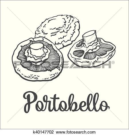 Clipart of Set of portobello edible mushrooms k40147702.