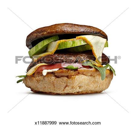 Stock Photograph of Portobello mushroom burger x11887999.