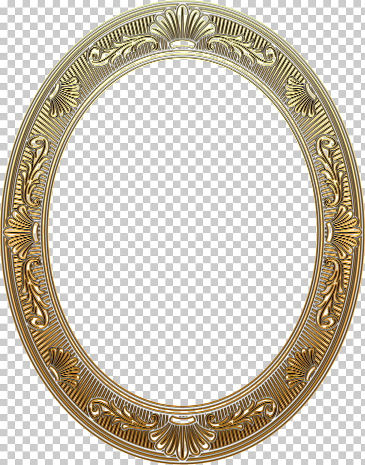 Portrait Frames painting, gold frame, oval yellow mirror.