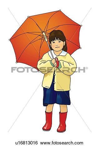 Stock Illustration of Portrait of a girl holding an umbrella.