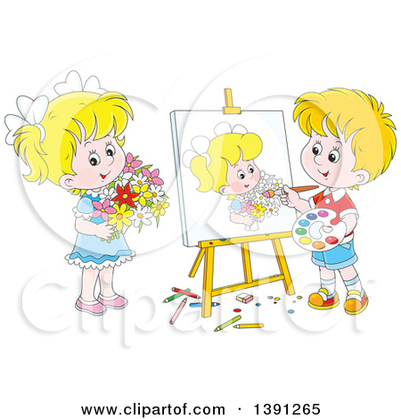 Clipart of a Cartoon Blond White Artist Boy Painting a Portrait of.