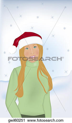 Clipart of Portrait of a girl wearing a Santa hat smiling.
