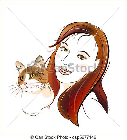 Clip Art Vector of portrait ginger cat and young girl csp5677146.