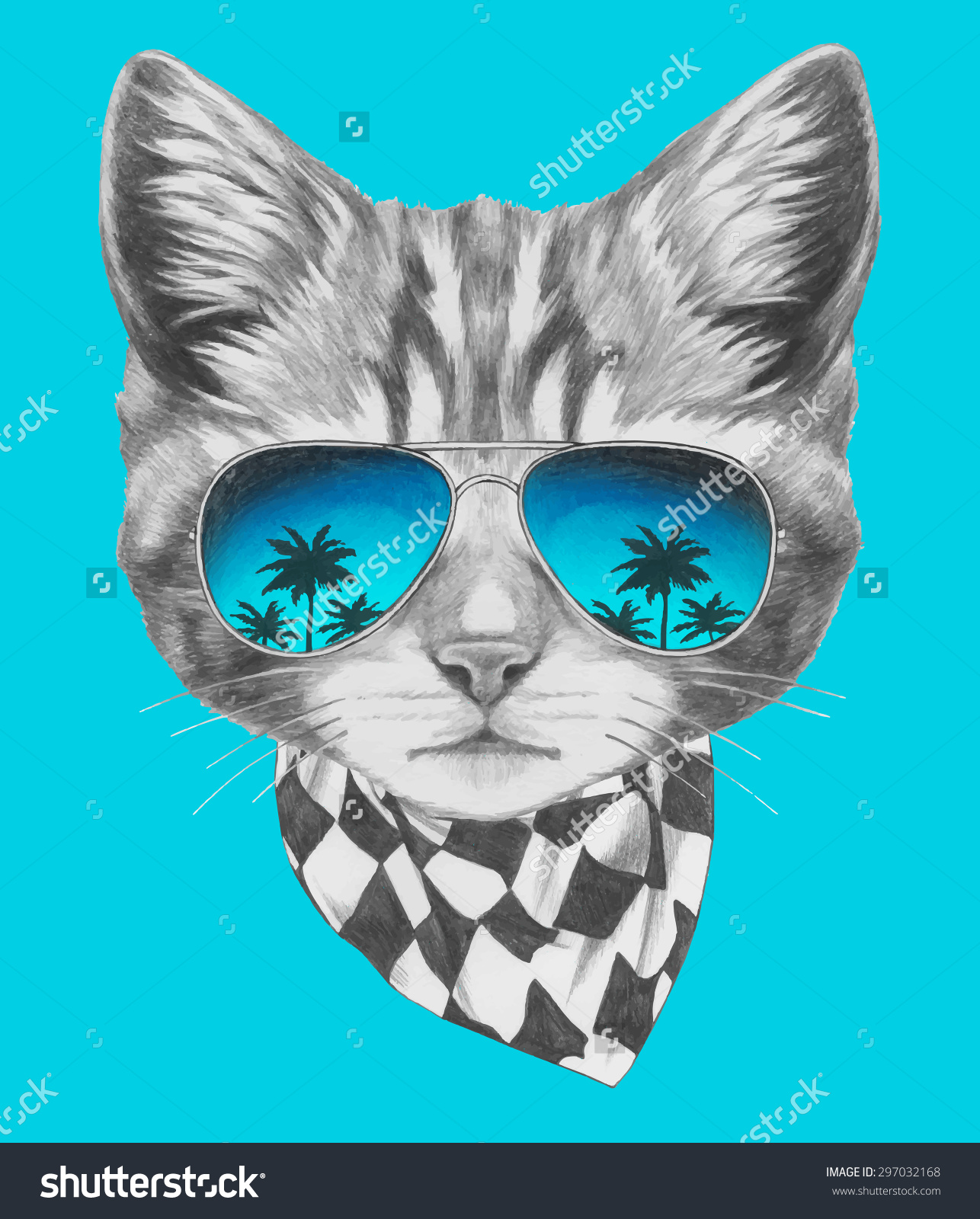 Hand Drawn Portrait Cat Mirror Sunglasses Stock Vector 297032168.