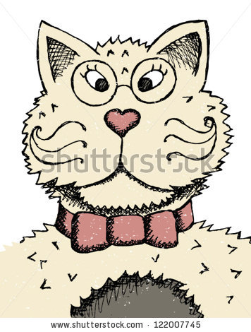 Vector Portrait Cat Heartnose Stock Vector 122007748.