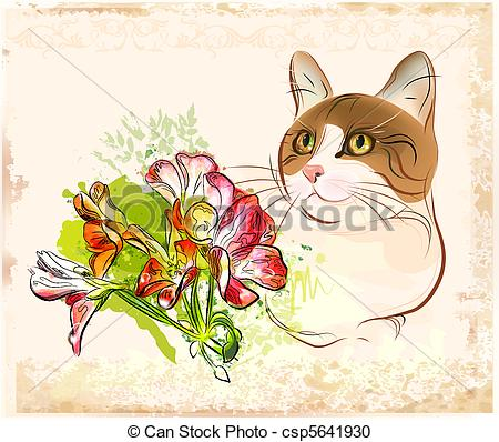 Vector Clipart of vintage portrait of cat with flowers csp5641930.