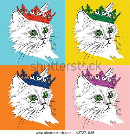 Portrait Cat Crown Pop Art Style Stock Vector 427271626.