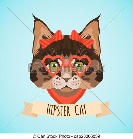 Clipart Vector of Hipster cat portrait.