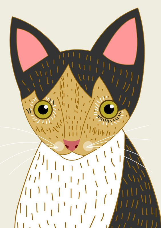 Pet portrait. Cat portrait. Custom cat Portraits. Bespoke quirky.