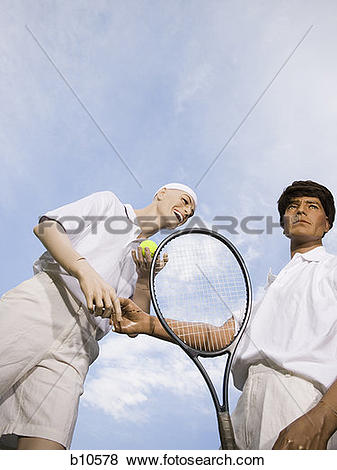 Pictures of Low angle view of two mannequins portraying tennis.