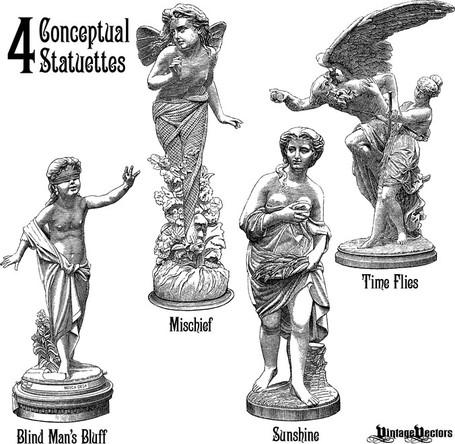 4 Statuette Vectors Portraying 4 Concepts, Cliparts.