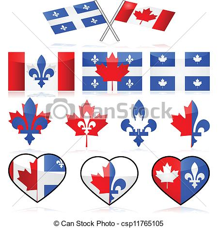 Vector Clipart of Canada and Quebec.