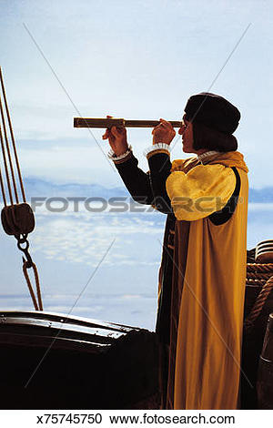Stock Photography of Man portraying explorer with spyglass.