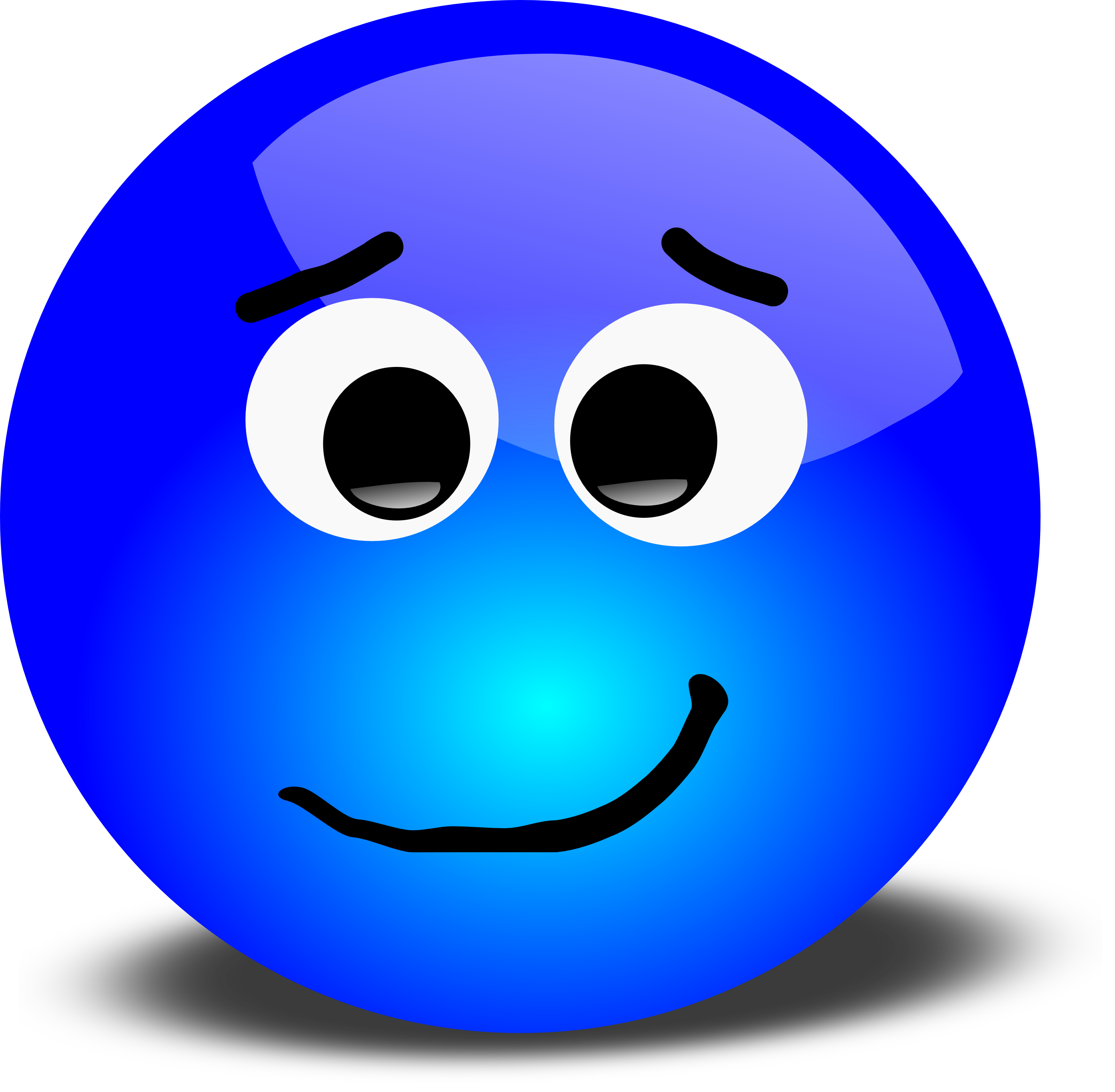 Vector Graphic Of A Blue 3d Smiley Portraying A Bothered.