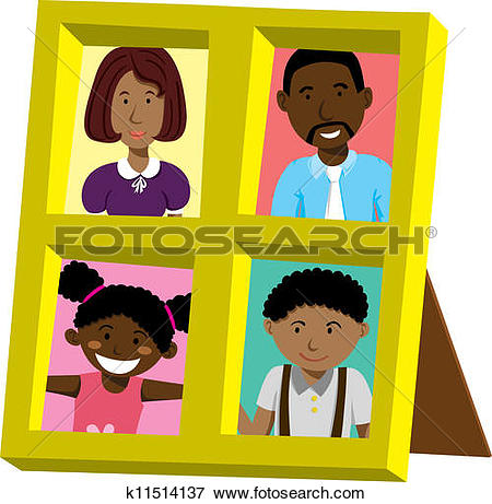 Clip Art of frame with african family portrait k11514139.
