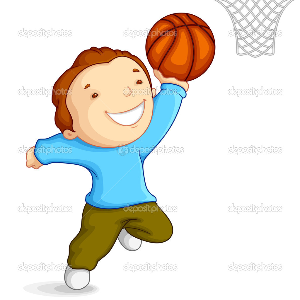 Boy Playing Basketball Clipart.