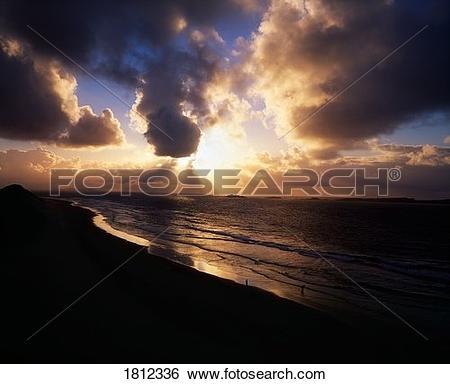 Stock Images of Sunset near Portrush, Co Antrim, Ireland 1812336.