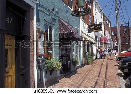 Stock Image of Portsmouth, NH, New Hampshire, Shops along Bow.