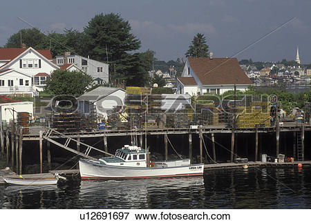 Picture of Portsmouth, NH, New Hampshire, Lobster boat docked.