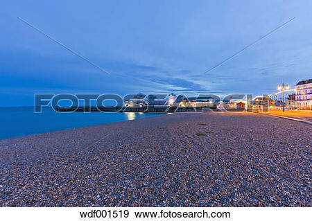 Stock Photograph of England, Hampshire, Portsmouth, View of beach.