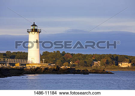 Stock Photo of Lighthouse on an island, Portsmouth Harbor Light.