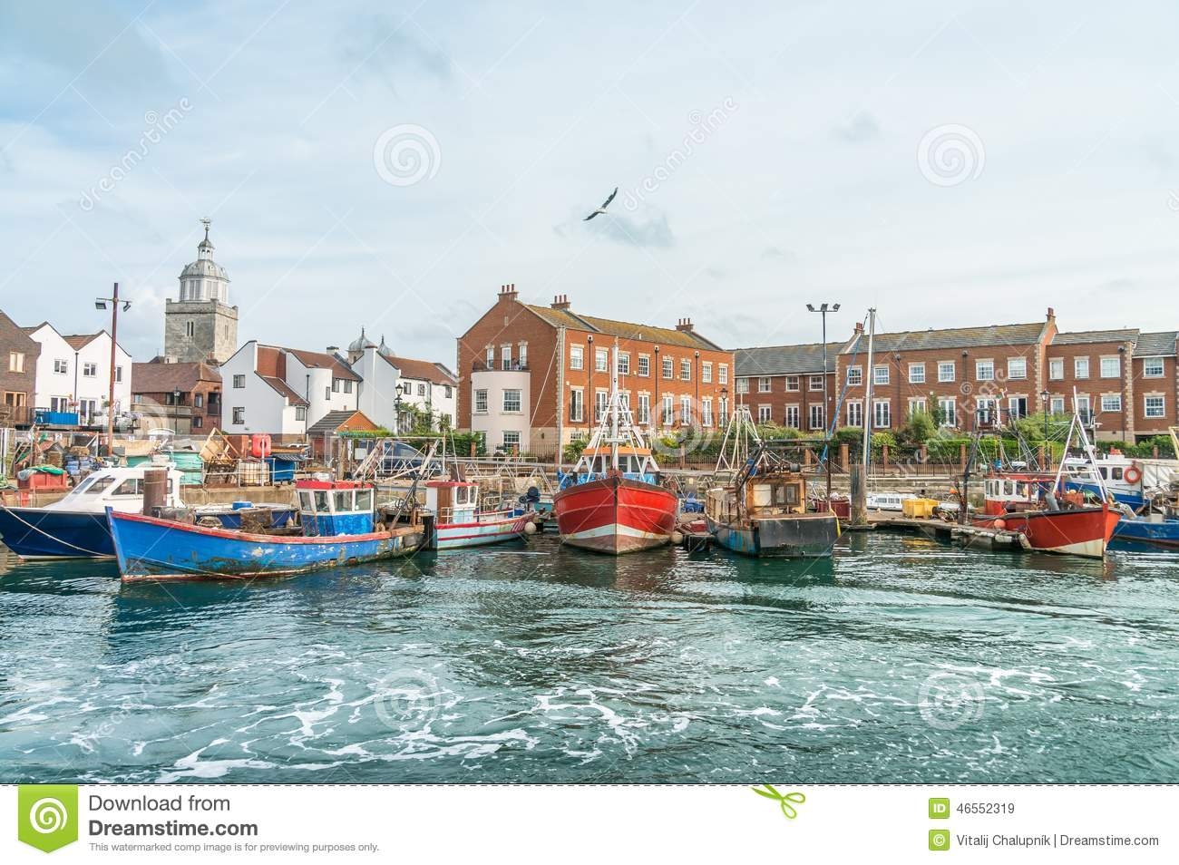 Fishing Boats In Portsmouth Stock Photo.
