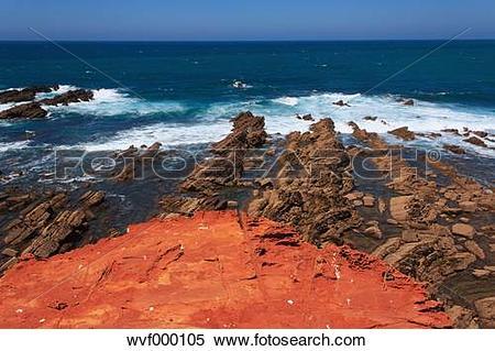 Stock Image of Portugal, Algarve, Sagres, View of praia do.