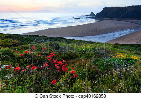 Stock Images of Odeceixe beach sunset view (Algarve, Portugal.
