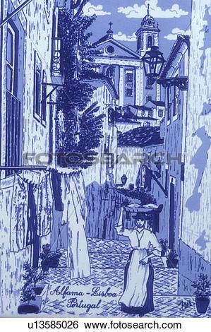 Stock Images of Portugal, tile, Algarve, Ceramic Portuguese blue.