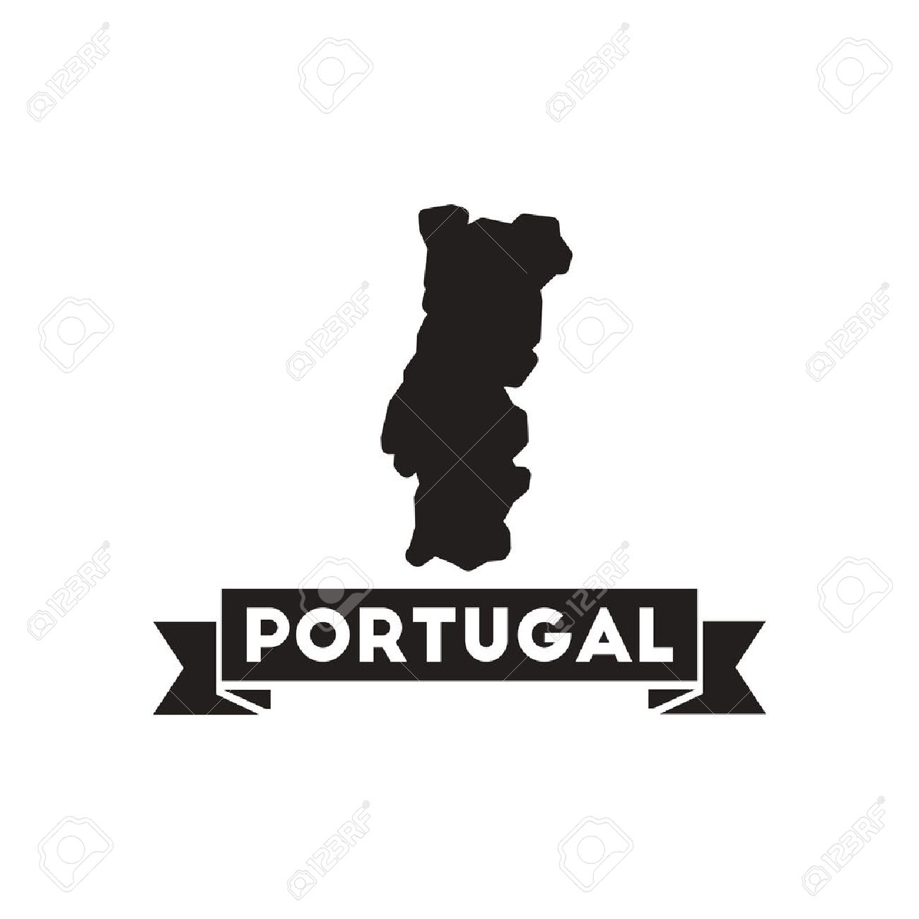 Flat Icon In Black And White Portugal Map Royalty Free Cliparts.
