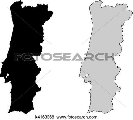 Clip Art of Portugal map. Black and white. Mercator projection.
