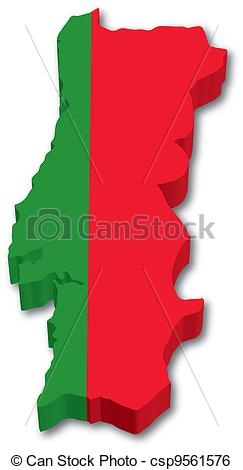 Clip Art Vector of 3D Portugal map with flag illustration on white.