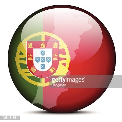 Map on flag button of Portuguese Republic, Portugal Clipart.
