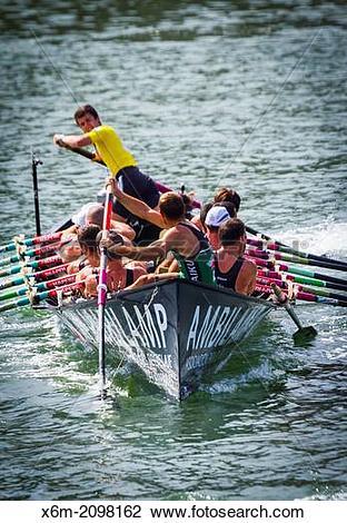 Stock Photo of Trainera regatta in Portugalete. Biscay, Basque.