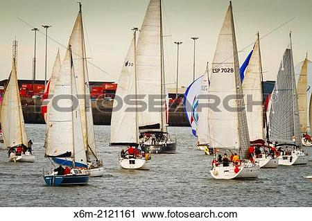 Stock Photography of Gallo boat race. Mouth of Nervion river.