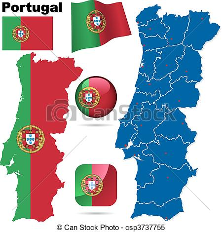 Clipart Vector of Portugal vector set. Detailed country shape with.