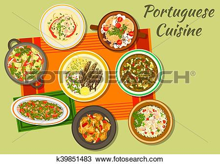 Clipart of Portuguese cuisine icon for food design k39851483.