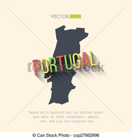 EPS Vectors of Vector portugal map in flat design. Portuguese.